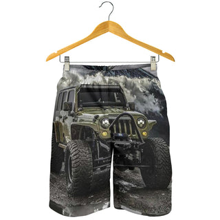 Dark Green Jeep All Over Print Men's Short