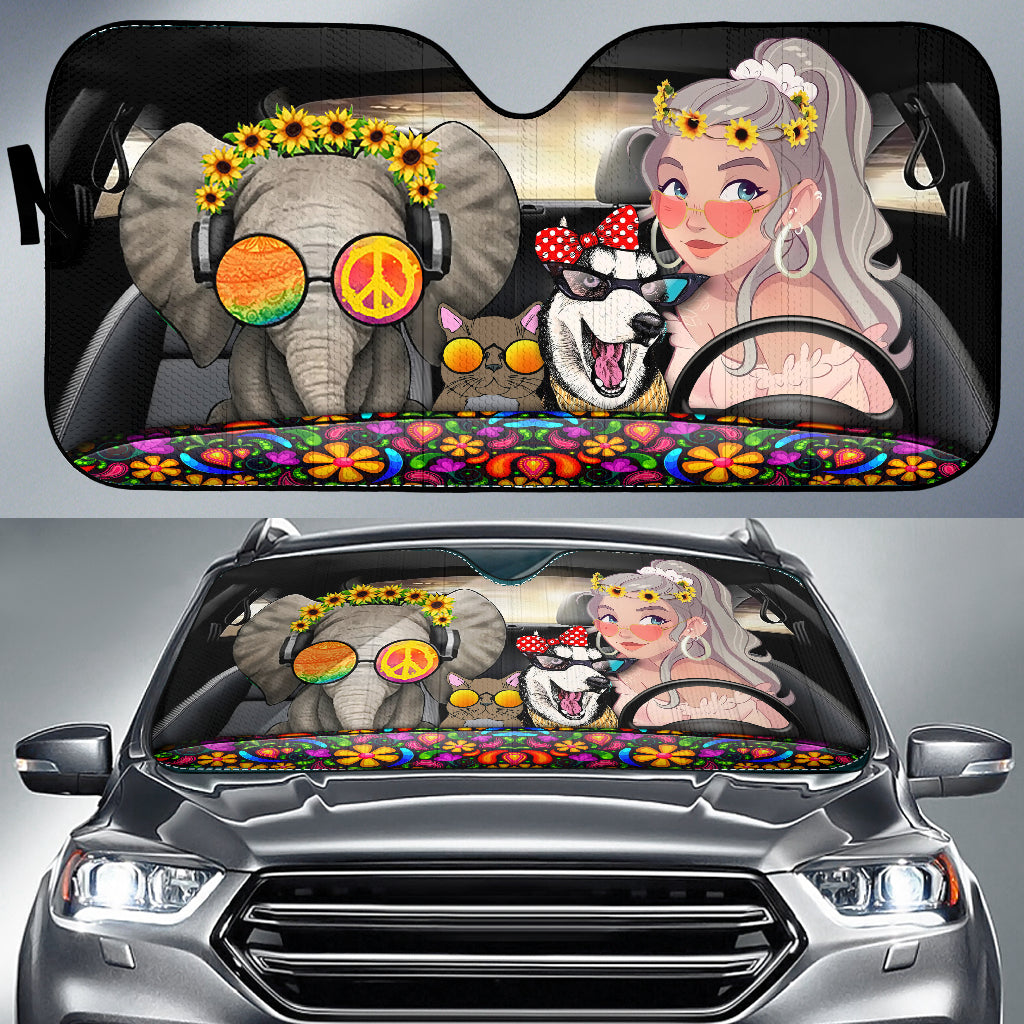 Hippie Girl Love Peace Auto Sun Shades For Car