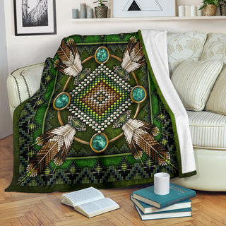 Green Native Pattern Premium Blanket