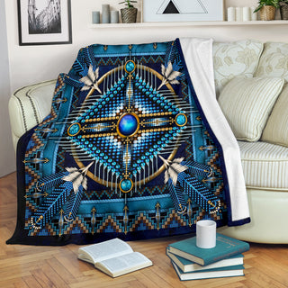 Blue Native Pattern Premium Blanket