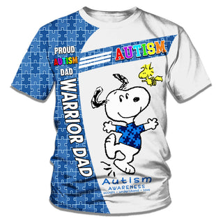 Snoopy Autism Warrior All Over Printed T-shirt For Dad/Mom/Kid