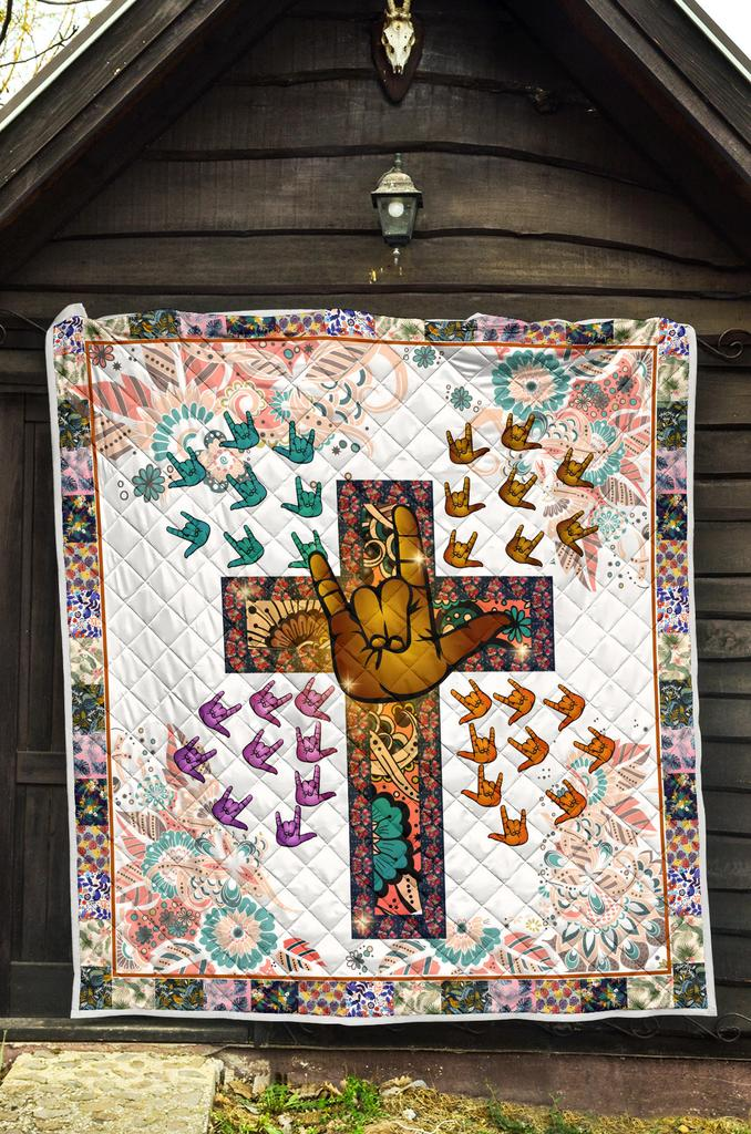 Sign Language Cross Pattern Premium Quilt Blanket - White