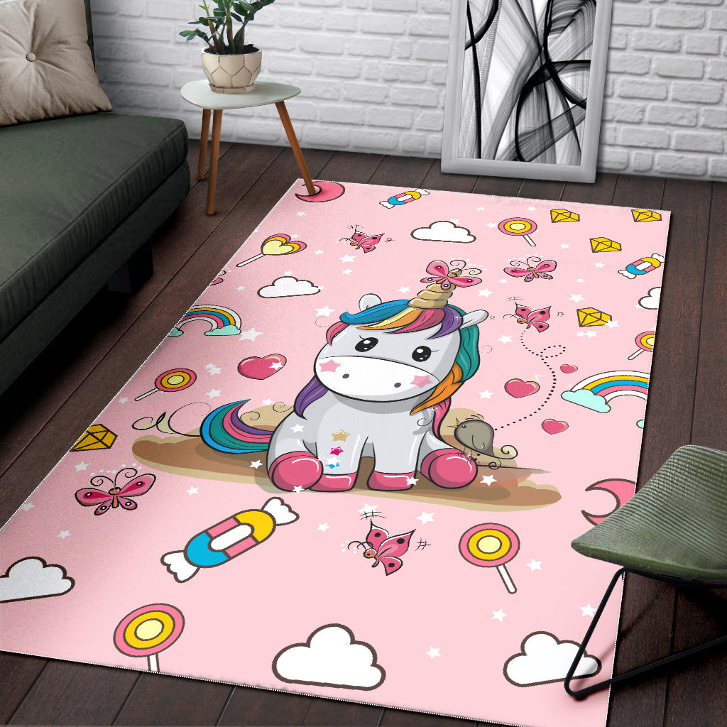 Pinky Unicorn Area Rug