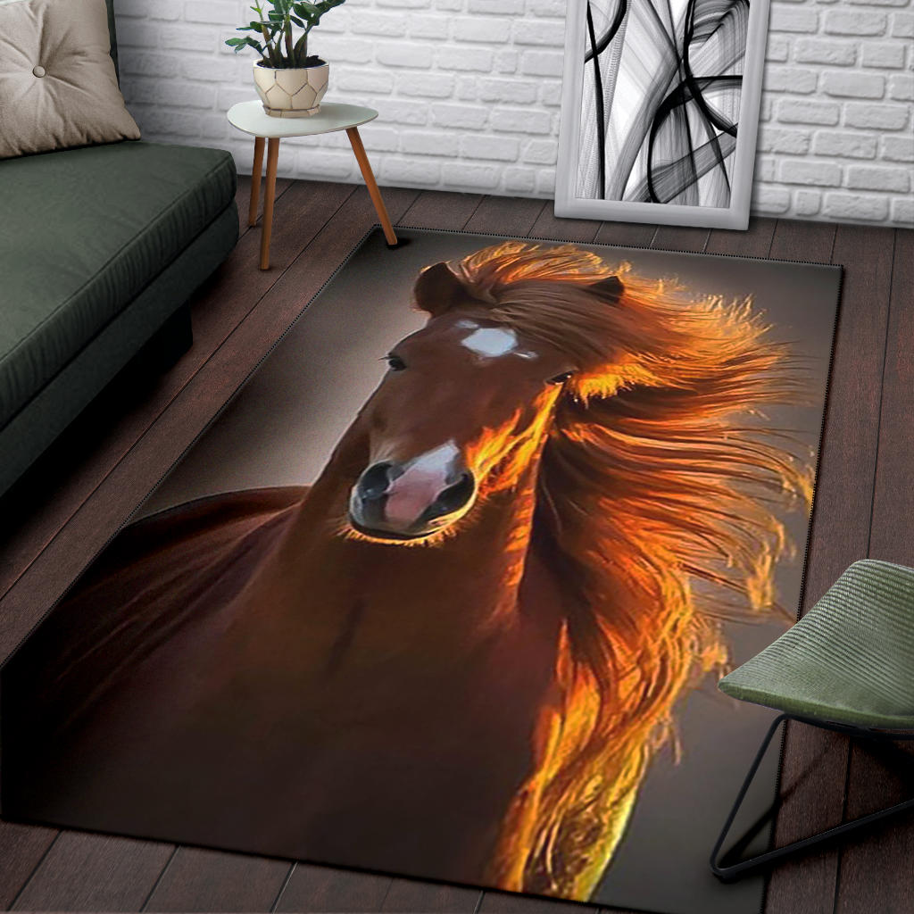 Brown Horse Premium Area Rug