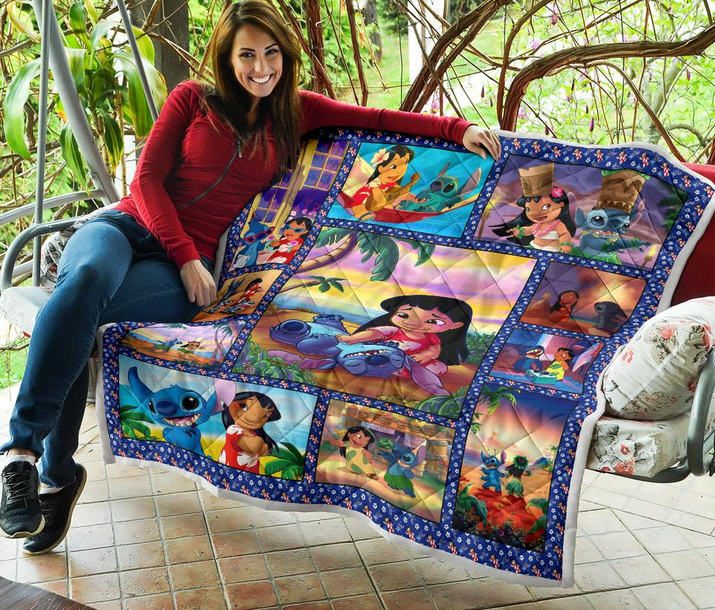 Lovely Stitch & Lilo Premium Quilt Blanket