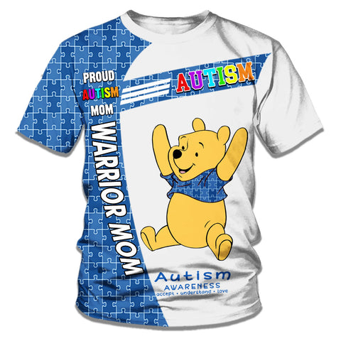 Winnie The Pooh Autism Warrior All Over Printed T-shirt For Dad/Mom/Kid