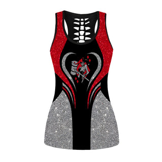 Glitter Harley Quinn Hollow Out Tanktop