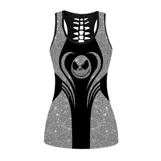 Glitter Jack Skellington Hollow Out Tanktop