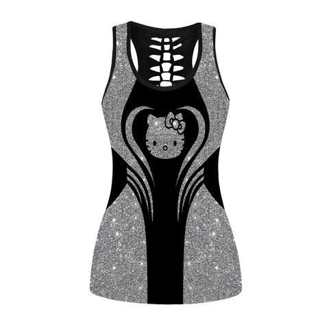 Glitter Hello Kitty Hollow Out Tanktop