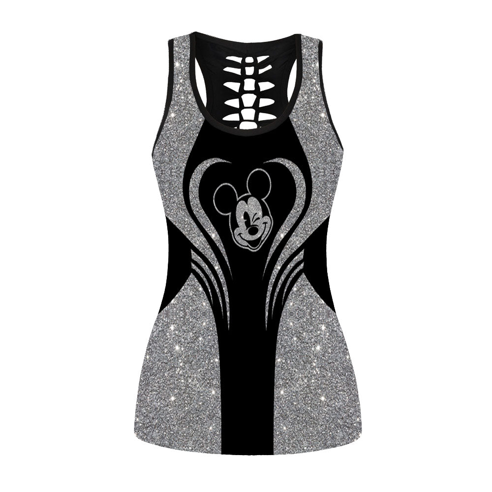 Glitter Mickey Mouse Hollow Out Tanktop