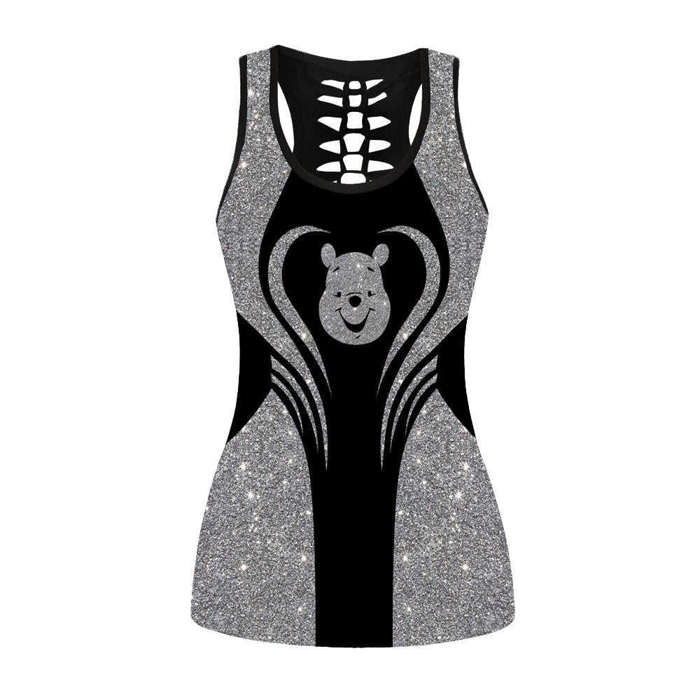 Glitter Pooh Hollow Out Tanktop