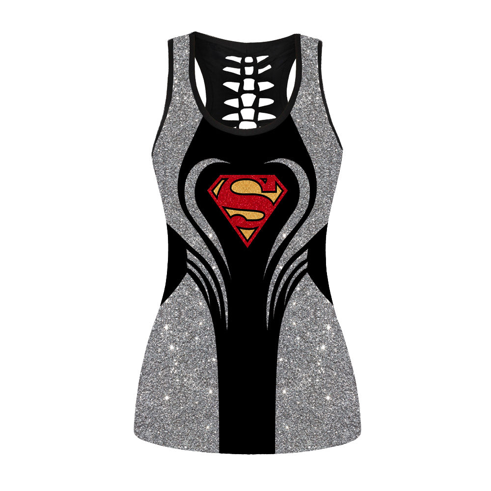 Glitter Superman Hollow Out Tanktop
