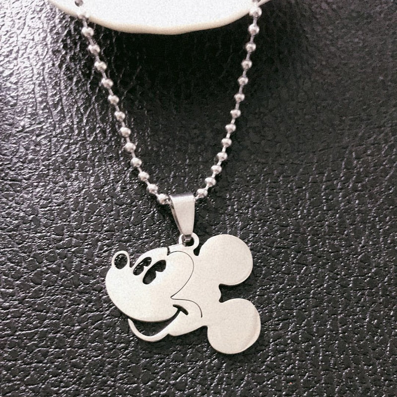 Mickey Mouse Pendant Round Beads Titanium Steel Chain Necklace