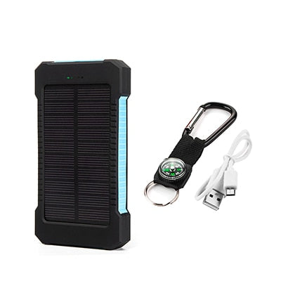 Solar Power Bank Waterproof 20000mAh Charger with LED Light