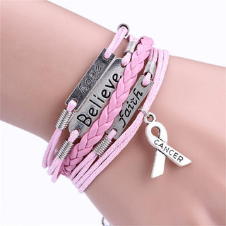 Leather Pink Ribbon Breast Cancer Awareness Bracelet