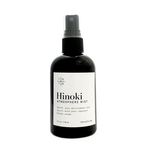 Hinoki Atmosphere Mist - te+te (te plus te) Uplift your environment and spirit with pure Hinoki aroma. Spray Hinoki Atmosphere Mist as needed throughout the home and office or on intimate items such as pillows, towels and clothes