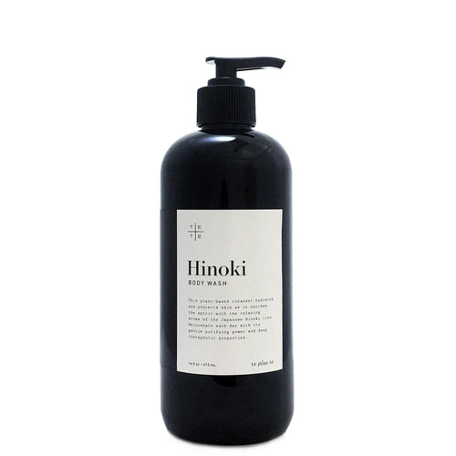 Hinoki Body Wash 16 oz - te+te (te plus te) Hinoki Body Wash, organic plant-based cleanser heals, hydrates and protects skin as it soothes the spirit with the relaxing aroma of the Japanese hinoki tree.