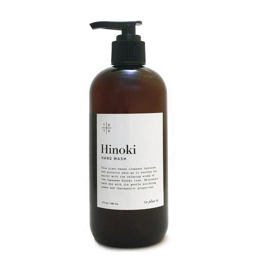 Hinoki Hand Wash - te+te (te plus te) Hand washing becomes a ritual with Hinoki Hand Wash, its gentle purifying power and deep therapeutic properties. The organic plant-based cleanser heals, hydrates and protects skin as it soothes the spirit with the relaxing aroma of the Japanese hinoki tree.