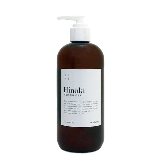 Hinoki Moisturizer - te+te (te plus te) Hinoki Moisturizer, the plant-based, and lightweight lotion is formulated for the body and hands to nourish all skin types as it soothes the spirit with the relaxing aroma of the Japanese Hinoki.