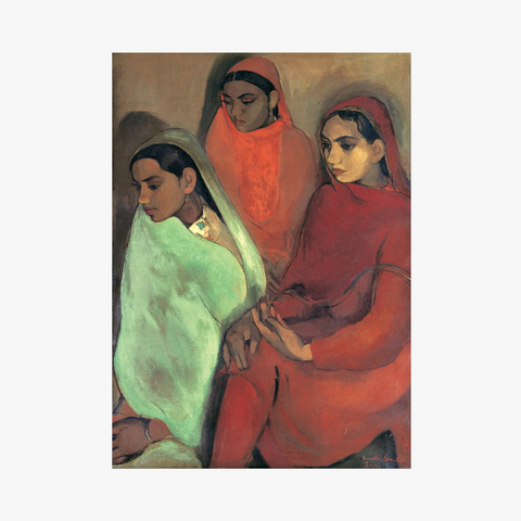 a group of three girls on oil on canvas by amrita sher-gil