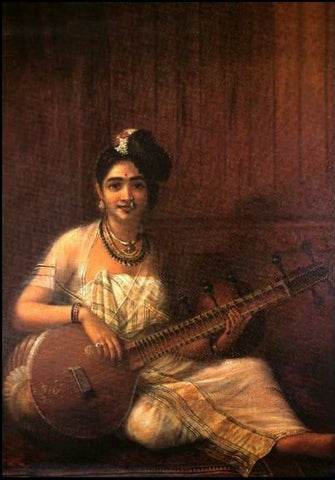 Nair Lady Playing Veena by Raja Ravi Verma