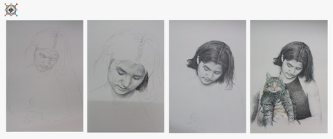 progress of painting of a girl holding a cat using pen done in hatching technique by artist milind for koonchi