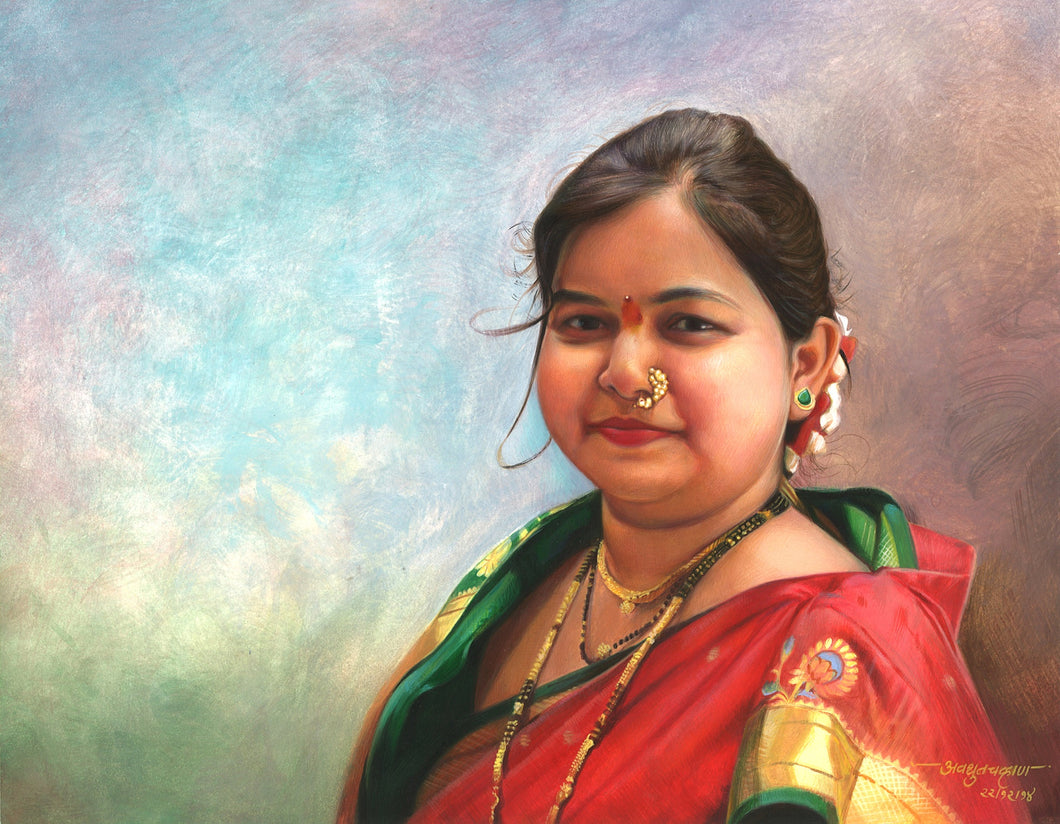 Turn Photo to Gouache Painting. Painting of a women wearing traditional Indian sari made by Artist Avadhoot
