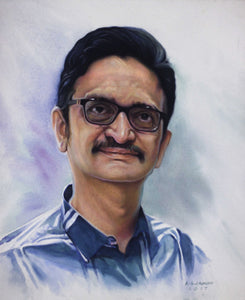 Turn Photo to Gouache Painting. Painting of a man with glasses made by Artist Avadhoot