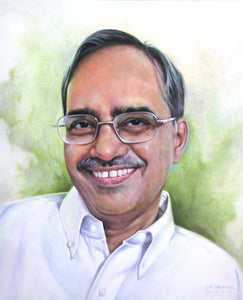 Turn Photo to Gouache Painting. Painting of a man with glasses made by Artist Avadhoot for Koonchi