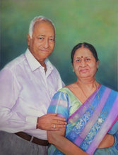 Load image into Gallery viewer, Turn Photo to Gouache Painting. Painting of an old couple made by Artist Avadhoot for Koonchi