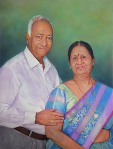 Turn Photo to Gouache Painting. Painting of an old couple made by Artist Avadhoot for Koonchi