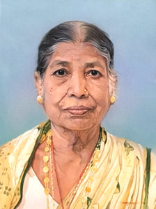 Turn Photo to Gouache Painting. Painting of an old lady made by Artist Avadhoot for Koonchi