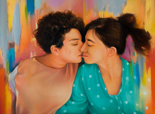 Turn Photo to Oil Painting. Oil on Canvas painting made using splash technique of two girls kissing by artist Kumar