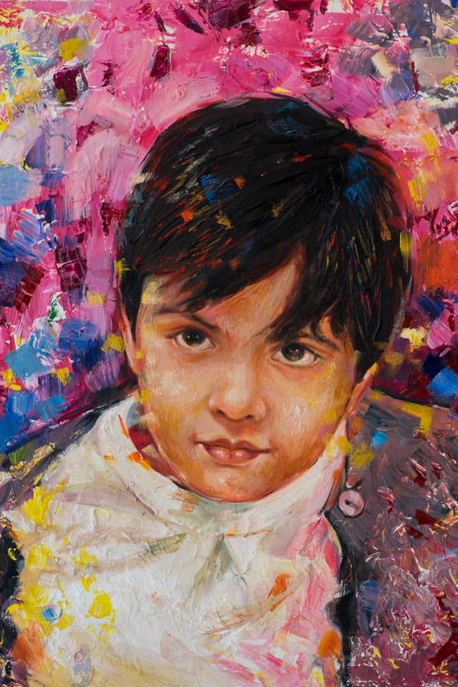 Mixed media bright colorful portrait painting of a kid made using knife technique by artist Kumar