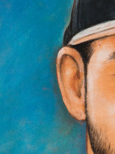 Load image into Gallery viewer, Turn Photo to Oil on Canvas painting. Oil on Canvas portrait painting with blue tonal background of a young man wearing a cap by artist Pushkar
