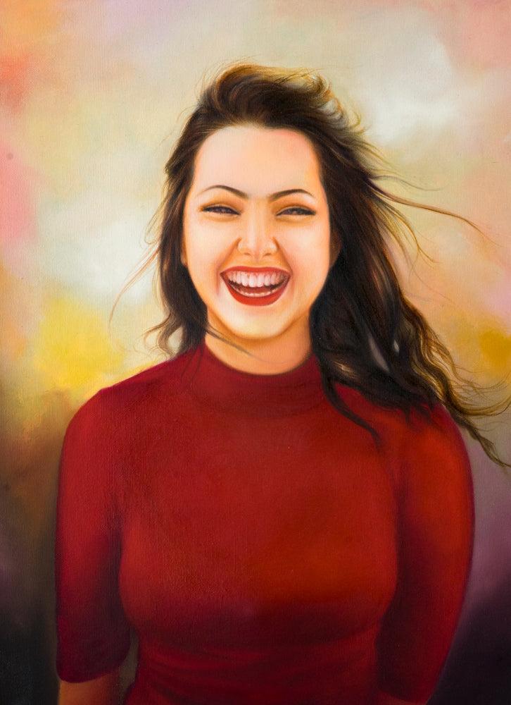Oil on Canvas portrait painting with dreamy background of a young girl wearing a red dress by artist Kumar