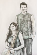 Load image into Gallery viewer, Black and white portrait painting with a hint of color on clothes of a young straight couple made using colored pencil by artist Radheshayam