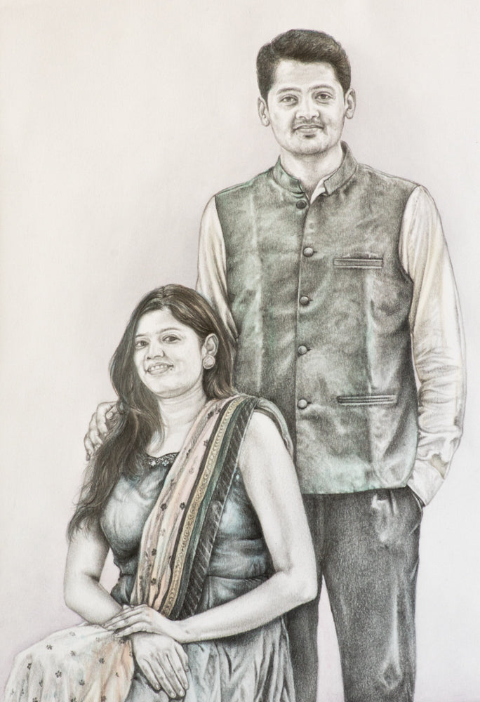 Black and white portrait painting with a hint of color on clothes of a young straight couple made using colored pencil by artist Radheshayam