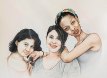 Load image into Gallery viewer, Turn Photo to colored pencil and watercolor painting. A colored pencil and watercolor portrait of three girl friends made by artist Radheshaym