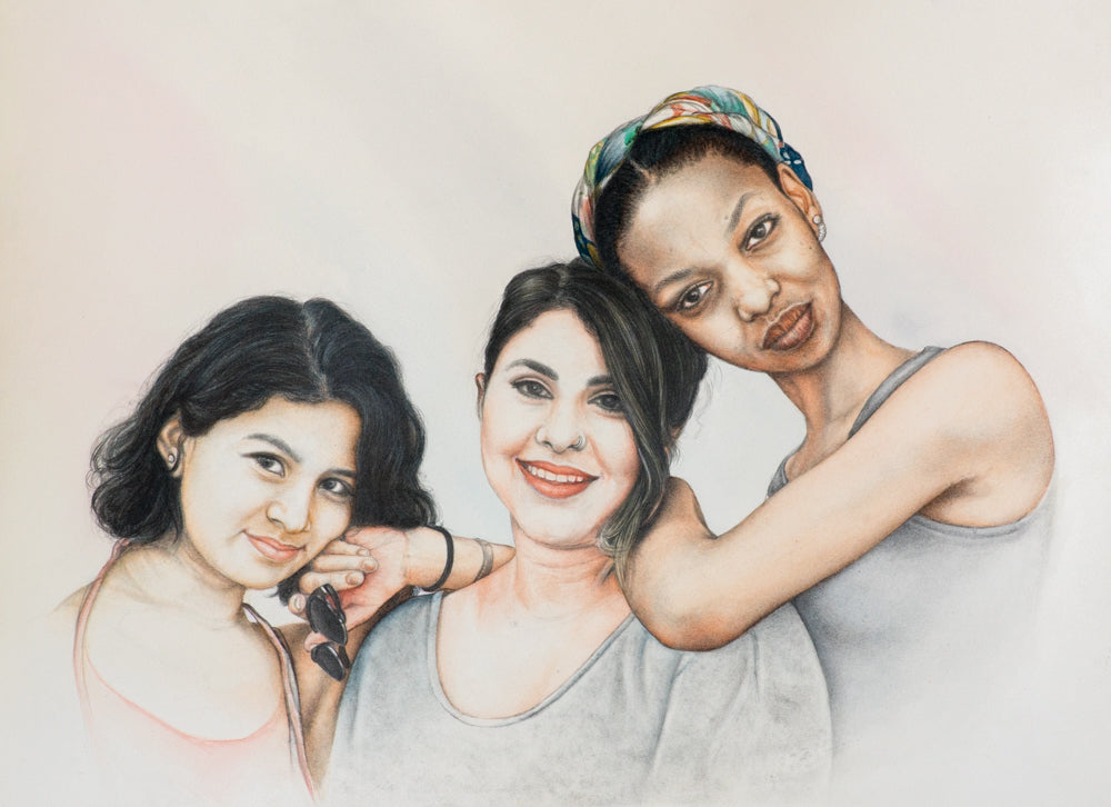 Turn Photo to colored pencil and watercolor painting. A colored pencil and watercolor portrait of three girl friends made by artist Radheshaym