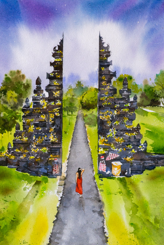 Watercolor painting of a young girl near arch with bright and dreamy sky by artist Anurag