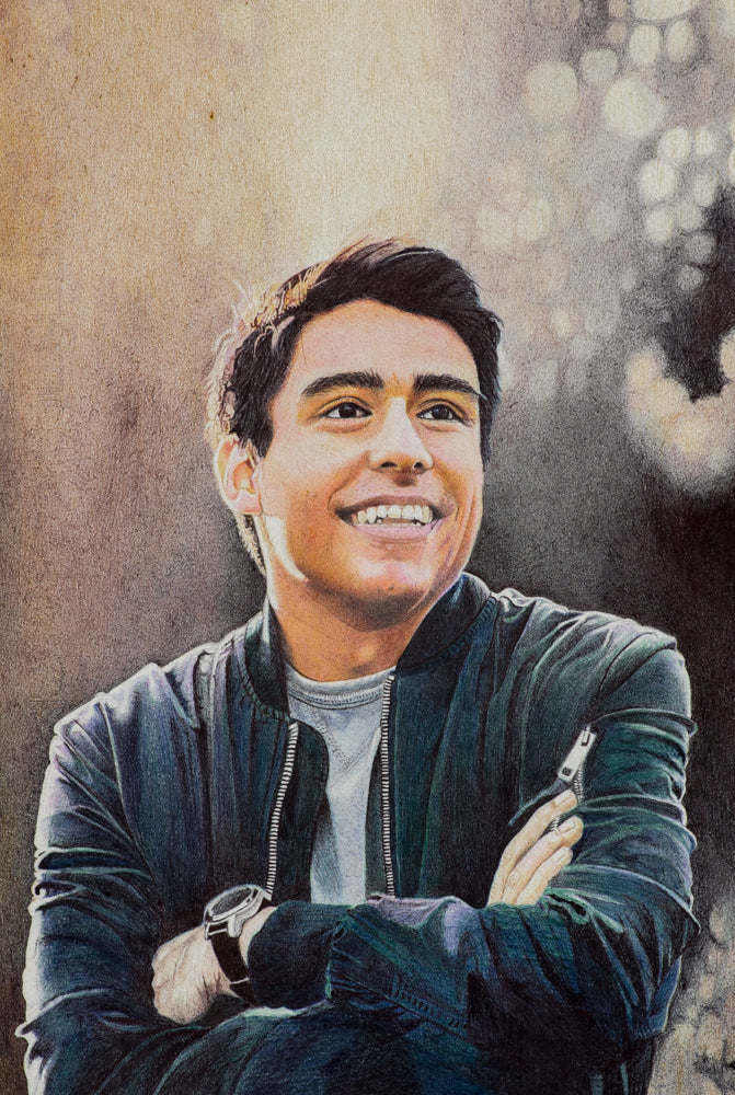 Ballpoint pen portrait painting with dreamy artistic background of a young man wearing a jacket by artist Suprio