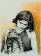 Load image into Gallery viewer, a sketch of a girl holding a cat made by artist milind for koonchi using hatching technique