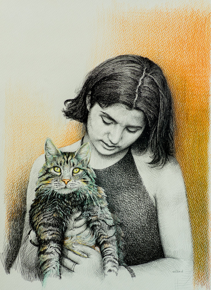 a sketch of a girl holding a cat made by artist milind for koonchi using hatching technique