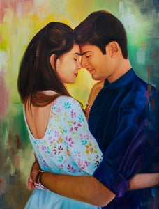 Photo to Oil on Canvas portrait painting with dreamy background of a young couple by artist Kumar for Koonchi