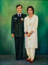 Load image into Gallery viewer, Photo to Oil on Canvas portrait painting of military couple by artist Kumar for Koonchi