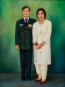Photo to Oil on Canvas portrait painting of military couple by artist Kumar for Koonchi