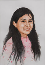 Load image into Gallery viewer, Turn Photo to colored pencil and watercolor painting. A colored pencil and watercolor portrait of a young girl made by artist Radheshaym for Koonchi