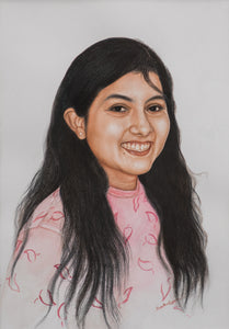 Turn Photo to colored pencil and watercolor painting. A colored pencil and watercolor portrait of a young girl made by artist Radheshaym for Koonchi