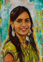 Load image into Gallery viewer, Photo to oil and acrylic bright colorful portrait textured painting of a young lady made using knife technique by artist Kumar for Koonchi